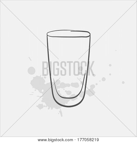 pint glass hand drawn icon - vector illustration