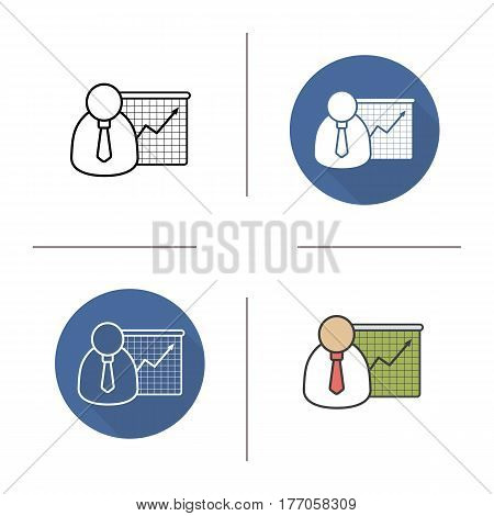Business presentation with graph icon. Flat design, linear and color styles. Office worker with growth chart. Isolated vector illustrations