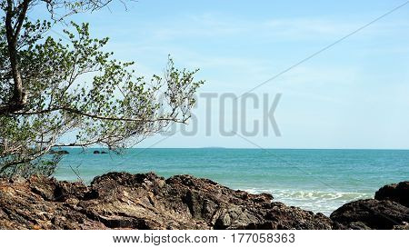 The calm tropical beach and coast at Rayong, the east of Thailand.