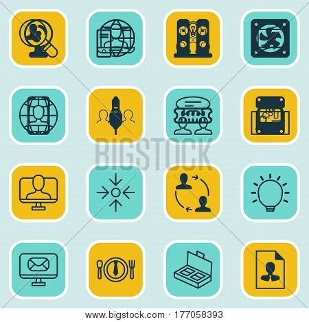 Set Of 16 Business Management Icons. Includes Online Identity, Coaching, Global Work And Other Symbols. Beautiful Design Elements.