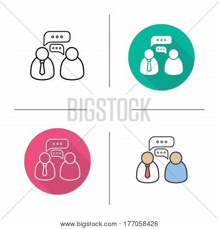 Business meeting icon. Flat design, linear and color styles. Business talk. Isolated vector illustrations