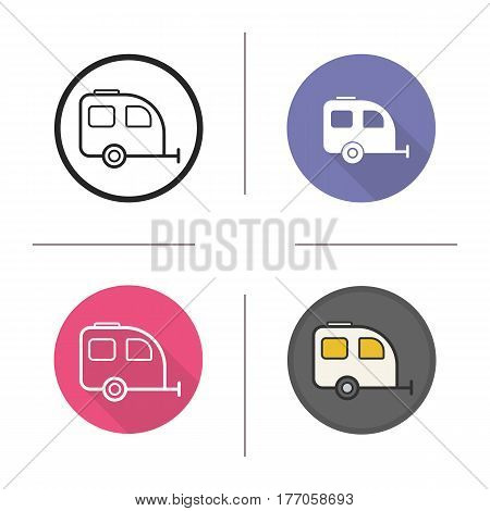Camping trailer icon. Flat design, linear and color styles. Isolated vector illustrations