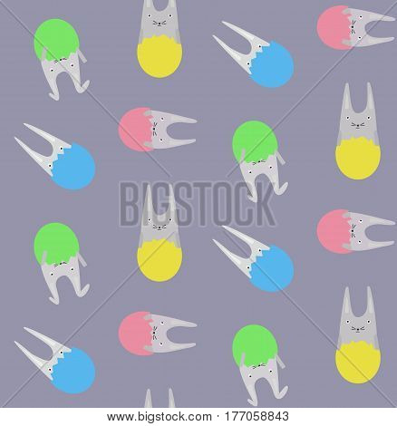 Pattern with Little Rabbits in Colorful Eggs on the Purple Background