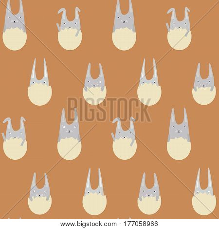 Seamless Pattern with Little Rabbits in Eggs on the Terra-Cotta Background