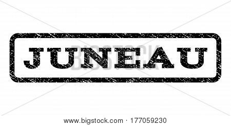 Juneau watermark stamp. Text tag inside rounded rectangle frame with grunge design style. Rubber seal stamp with dirty texture. Vector black ink imprint on a white background.