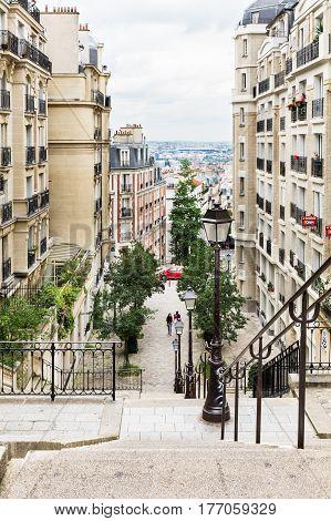 Paris France - June 28 2016: Beautiful Paris cityscape seen from Montmartre hill