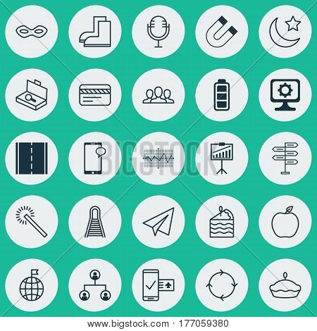 Set Of 25 Universal Editable Icons. Can Be Used For Web, Mobile And App Design. Includes Elements Such As Carnival Face, Startup, Cake Piece And More.