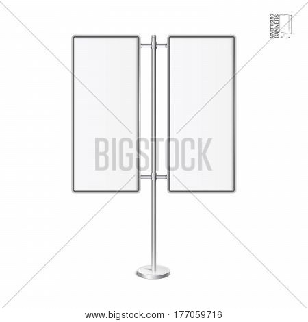 Vector light box with chrome stand. Realictic light box template