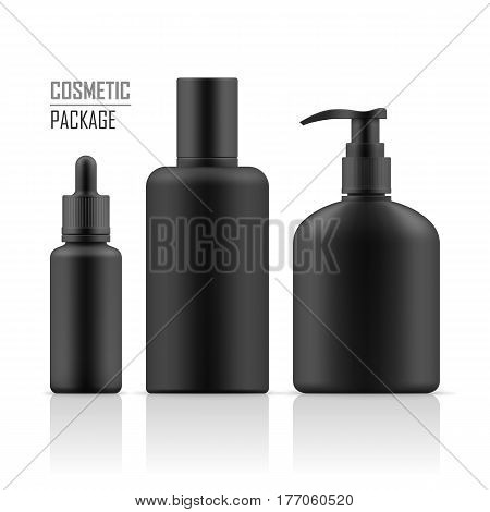 Set of realistic black package for luxury cosmetic product. Cosmetic for hygiene and clean. Set of empty realistic plastic containers: body cream bottle, liquid soap with dispenser. Vector mockup.