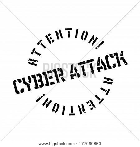 Cyber Attack rubber stamp. Grunge design with dust scratches. Effects can be easily removed for a clean, crisp look. Color is easily changed.