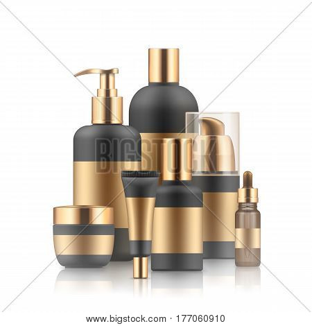 Vector set of realistic package for luxury cosmetic product. Blank templates of cream tube, bottles for body lotion or shampoo, vial with dropper for essence. Golden and black empty plastic containers