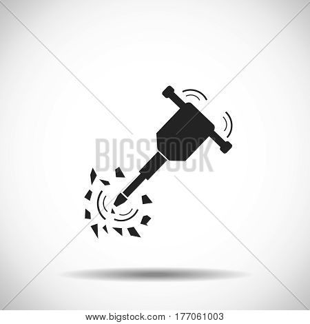 Icon of Construction jackhammer. White background with shadow design. Vector illustration.