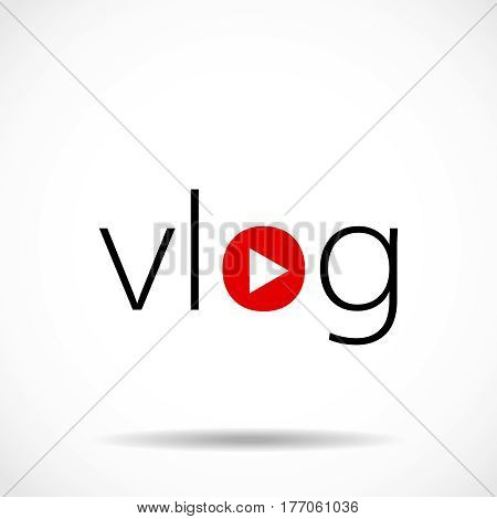 Vlog or video blogging or video channel buttons set
