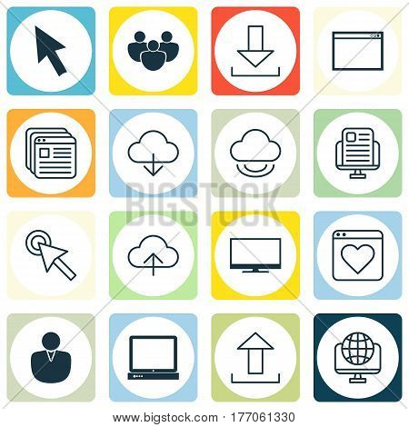Set Of 16 Internet Icons. Includes Website Bookmarks, Display, Login And Other Symbols. Beautiful Design Elements.