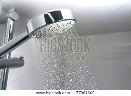water drops in a shower close up