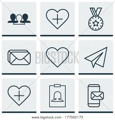 Set Of 9 Social Network Icons. Includes Add To Favorites, Phone Messaging, Medal And Other Symbols. Beautiful Design Elements.