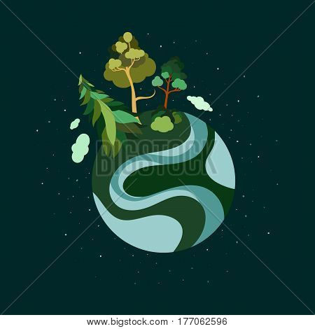 Earth Day. Planet Earth. Trees, river, oceans, clouds, stars, biosphere, atmosphere. Ecological print. Save the planet. Vector illustration.