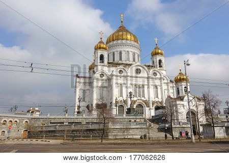 Moscow, Russia - 18 March 2017: Cathedral Of Christ The Saviour.