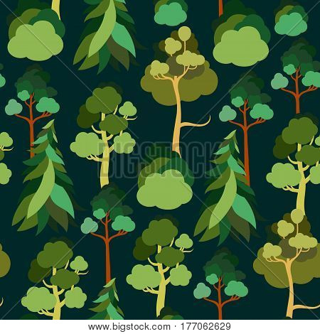 Earth Day. Seamless pattern with trees against the sky. Pine, spruce, linden, birch. Ecology. Vector illustration.