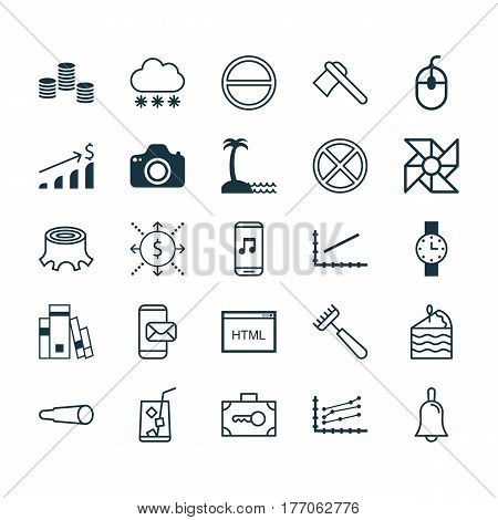 Set Of 25 Universal Editable Icons. Can Be Used For Web, Mobile And App Design. Includes Elements Such As Line Graph, Money, Coding And More.