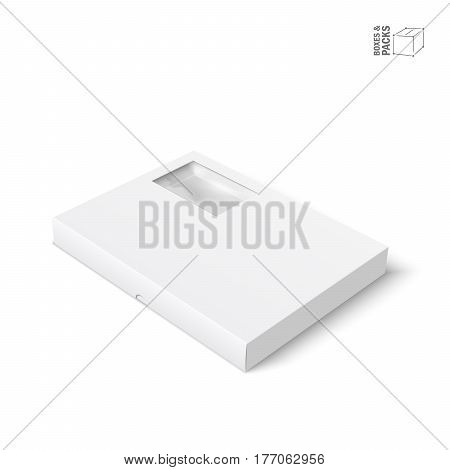 White vector product package box with window. Isolated on white background