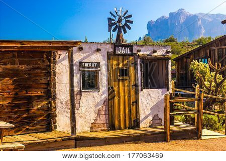 Old Adobe Western Jail In Arizona Desert