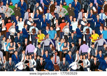 illustration of a lot of business people staying in a crowd