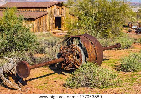 Discarded Rusty Mining Operations Equipment Abandoned In Arizona Desert
