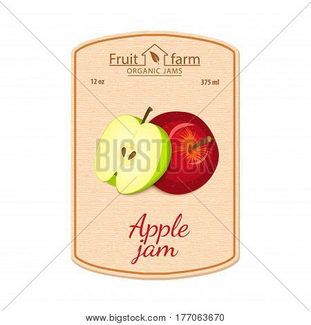 Vector apple jam lable. Composition of green and red apples fruits. Design of a sticker for a jar with apple jam, fruit marmalade, juice, smoothies. Sticker in retro style with texture for your design.