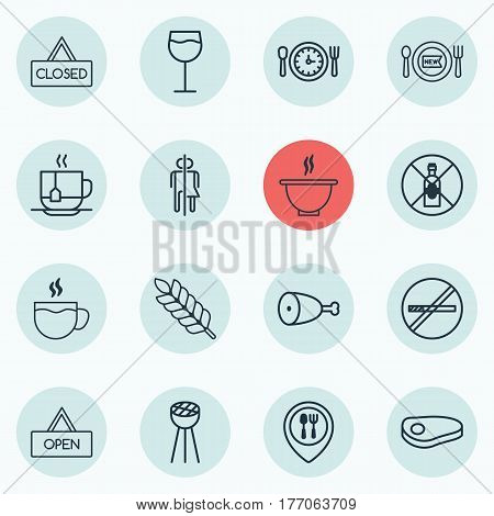 Set Of 16 Eating Icons. Includes Fried Poultry, Steak, Wineglass And Other Symbols. Beautiful Design Elements.