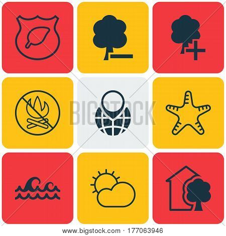 Set Of 9 Eco Icons. Includes Pin Earth, Sea Star, Fire Banned And Other Symbols. Beautiful Design Elements.