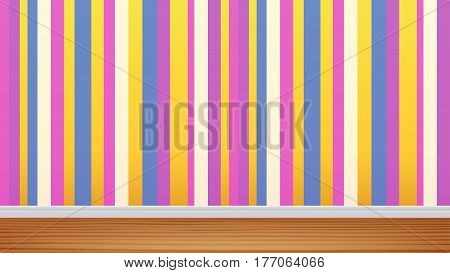 illustration of colorful wall in apartment with wooden floor