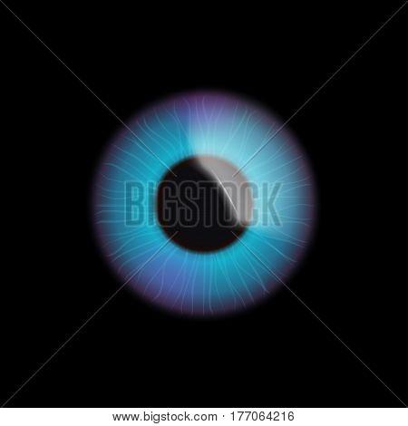illustration of realistic blue eye on dark background
