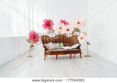 Interior with window flowers and sofa with pillows
