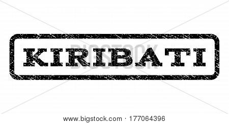 Kiribati watermark stamp. Text caption inside rounded rectangle frame with grunge design style. Rubber seal stamp with dust texture. Vector black ink imprint on a white background.
