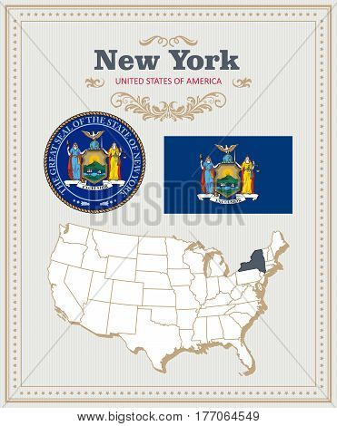 High detailed vector set with flag, coat of arms, map of New York. American poster. Greeting card from United States of America. Colorful design