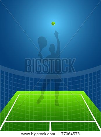 tennis background with ball and shadow man. vector