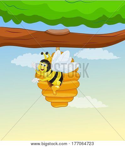 illustration bee inside beehive hang on tree branch