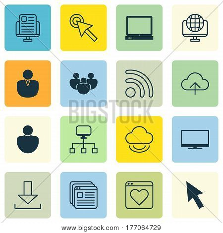 Set Of 16 Internet Icons. Includes Blog Page, Account, Followed Website And Other Symbols. Beautiful Design Elements.