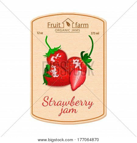 Vector strawberry jam lable. Composition of strawberry fruits. Design of a sticker for a jar with strawberry jam, berry marmalade, juice, smoothies. Sticker in retro style with texture for your design.