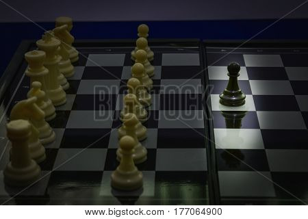 black pawn in king shadow fight team white chess concept teamwork business