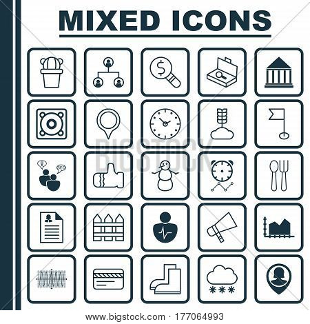 Set Of 25 Universal Editable Icons. Can Be Used For Web, Mobile And App Design. Includes Elements Such As Female Application, Cosinus Diagram, Business Inspection And More.