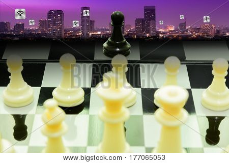 one black pawn fight team white chess concept business leadership and teamwork