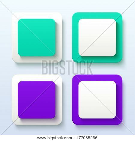 illustration of group two colored labels with shadows on bright background