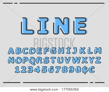 Vector trendy flat font with abstract lines. Latin alphabet from A to Z and numbers from 1 to 0. Beautiful bold typeface with capital letters.