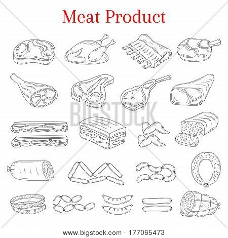 Vector illustration with different kinds of meat beef steak, lamb chop, pork, chicken and sausages, doodle sketch style, isolated on white background.
