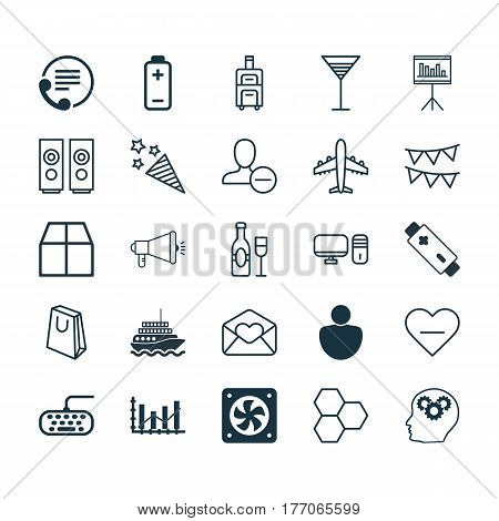 Set Of 25 Universal Editable Icons. Can Be Used For Web, Mobile And App Design. Includes Elements Such As Computer Ventilation, Handbag, Remove User.