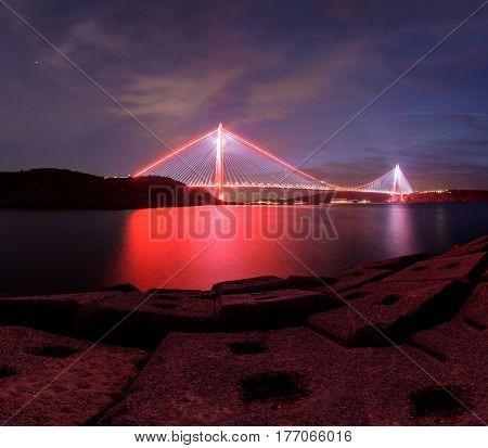 New bridge of Istanbul bosphorus; Yavuz sultan Selim Bridge with Longexposure