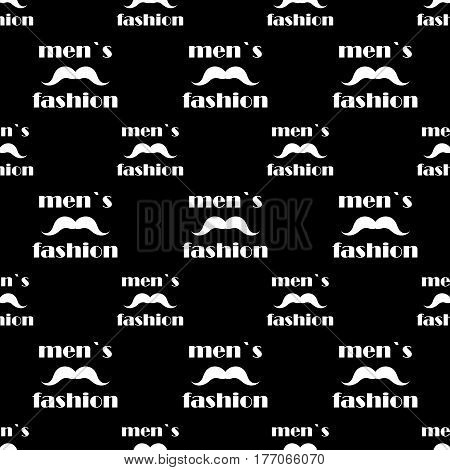 black seamless pattern with white mustache. vector