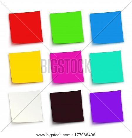 illustration of set colored papers with shadows on white background